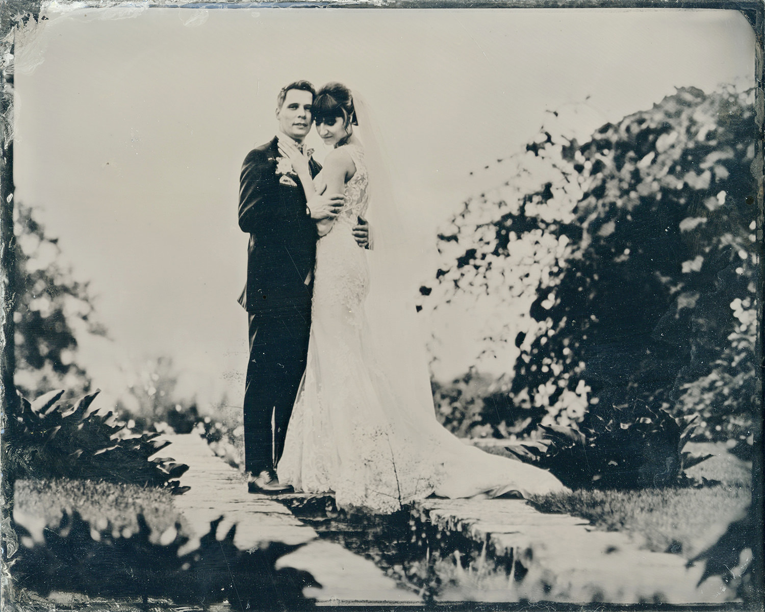 wetplate photo of bride and groom