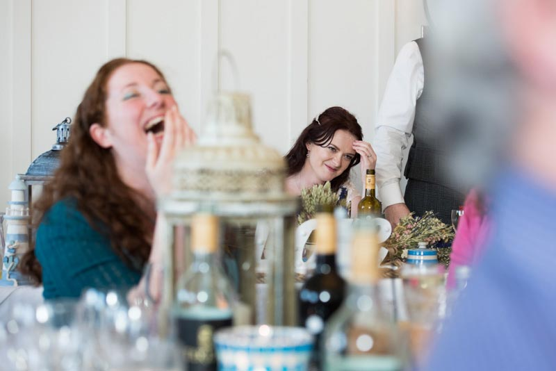 harbour hotel wedding in sidmouth devon, embarrassed bride during speeches