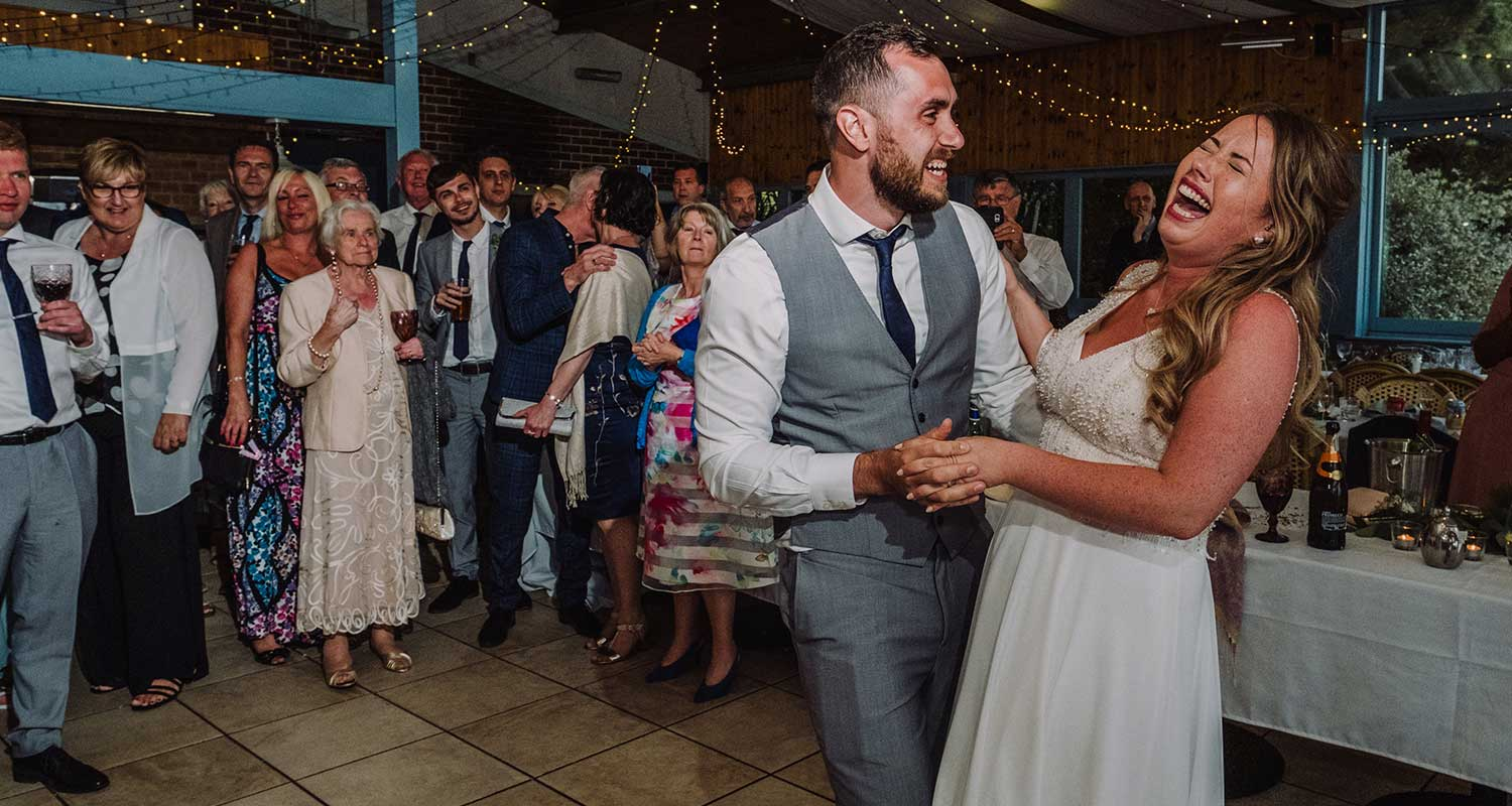 venus cafe wedding in devon, bride and groom on the dance floor