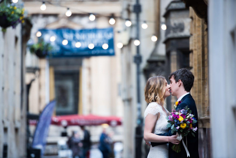 Bride and groom intimate wedding portraits in Bristol city centre, wedding photographer Bristol