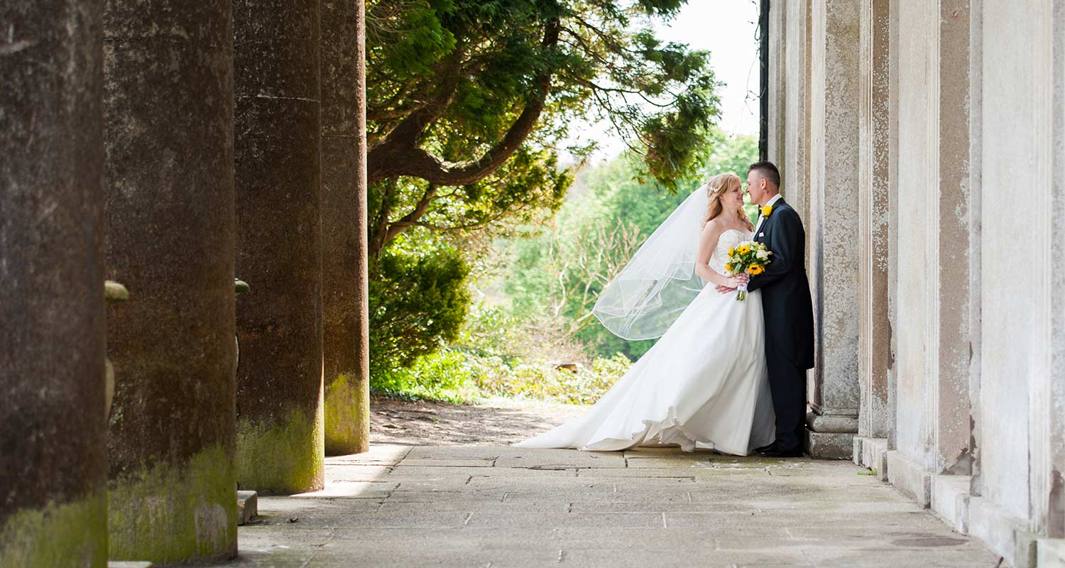 bride and groom at buckland house in north devon
