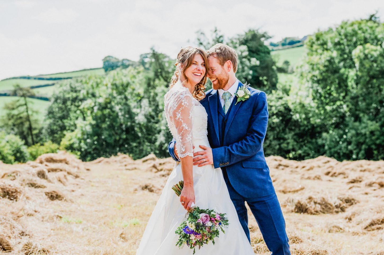 Country ways wedding north devon, bride and groom intimate couple portraits