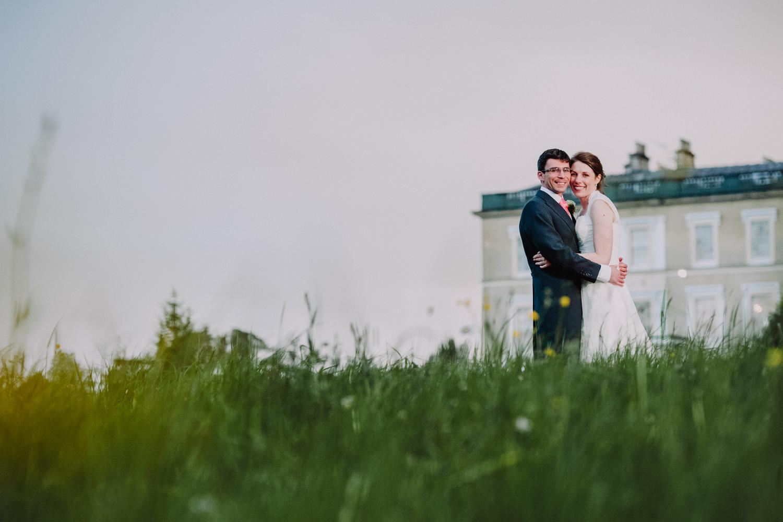 escot house wedding, bride and groom at escot house wedding