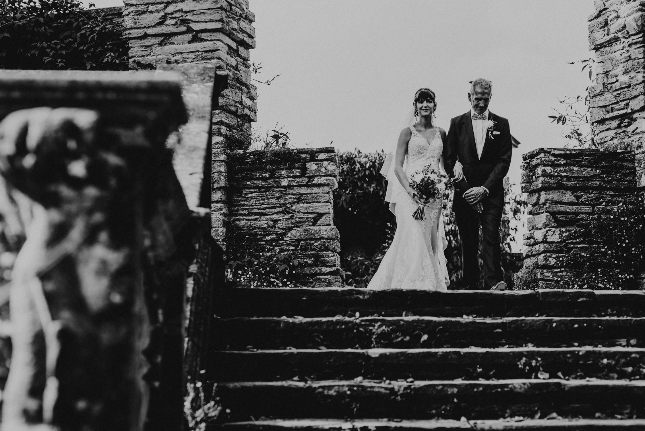 Hestercombe gardens wedding photographer, bride with father walking to ceremony, somerset wedding photographer, Hestercombe wedding