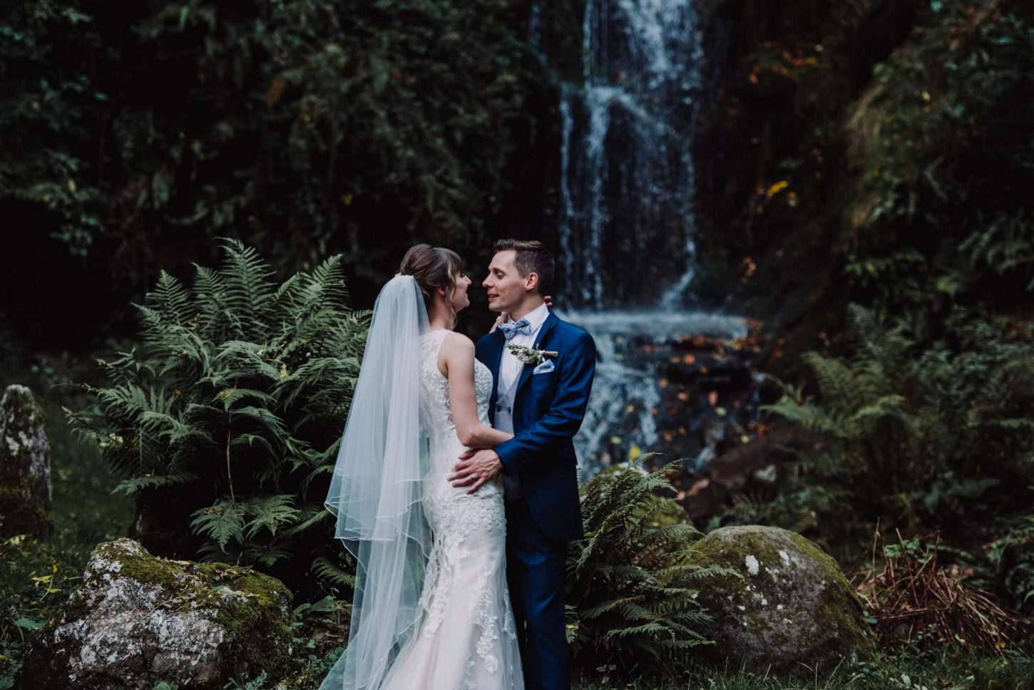Hestercombe gardens wedding, bride and groom at waterfall in Hestercombe gardens, somerset wedding photographer
