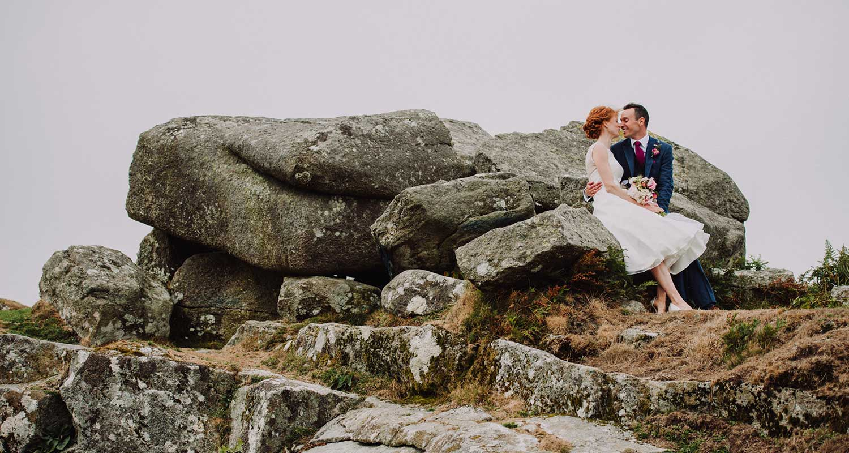 bride and groom on dartmoor in devon