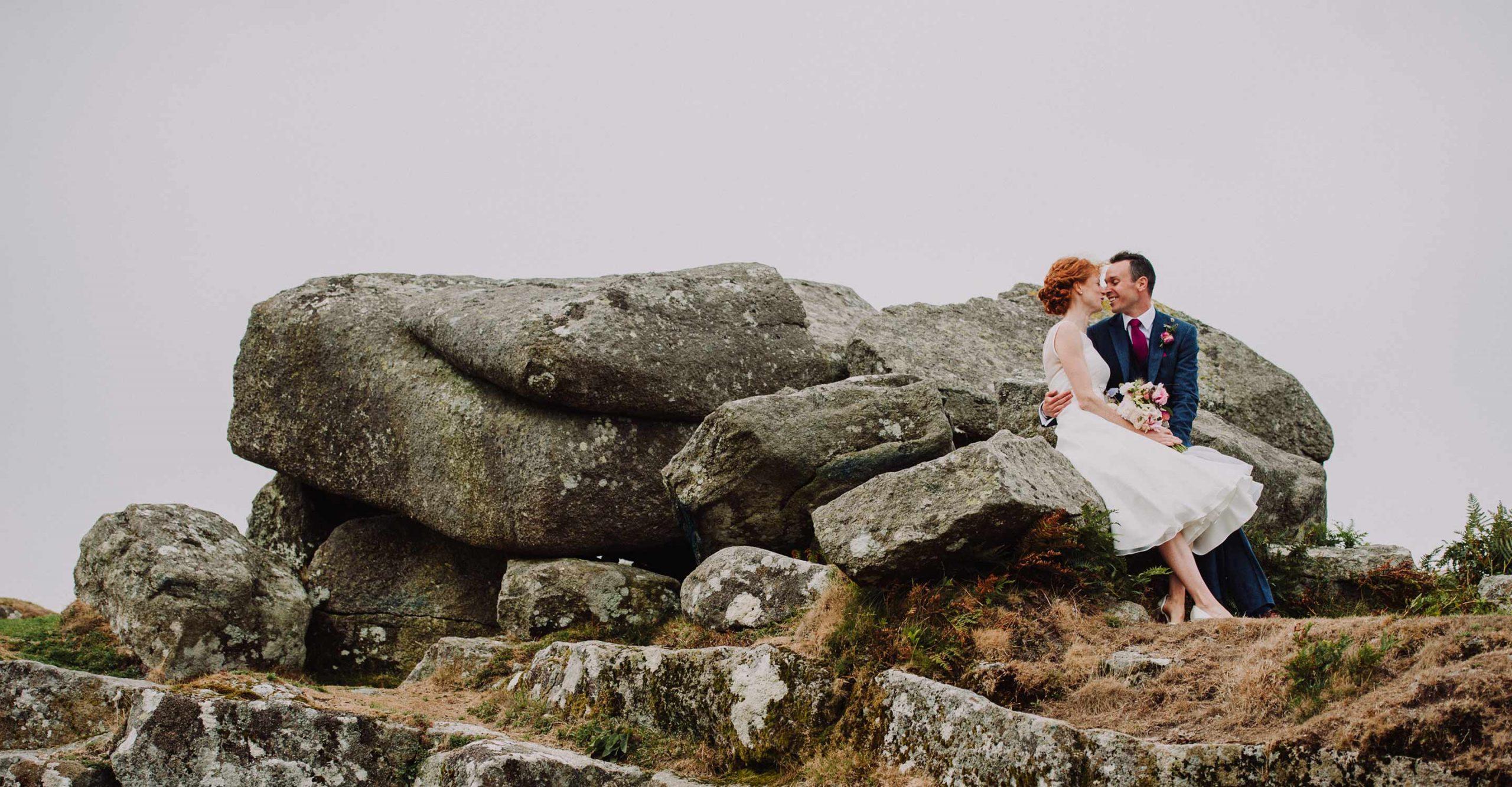 devon wedding photographer, bride and groom on dartmoor tor