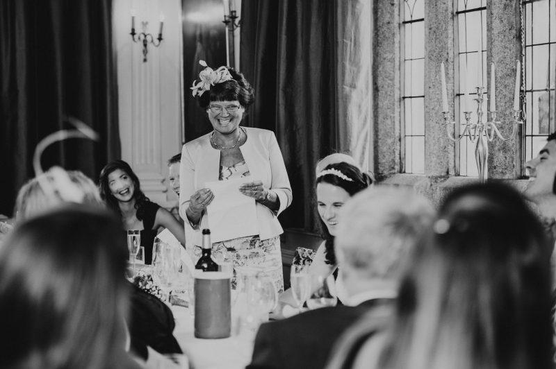 Lewtrenchard wedding in Devon, Devon wedding photographer, Mother of the bride giving a speech