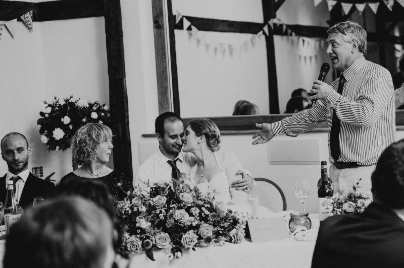 muddifords court wedding in Devon, devon wedding photographer, father of the bride giving a speech