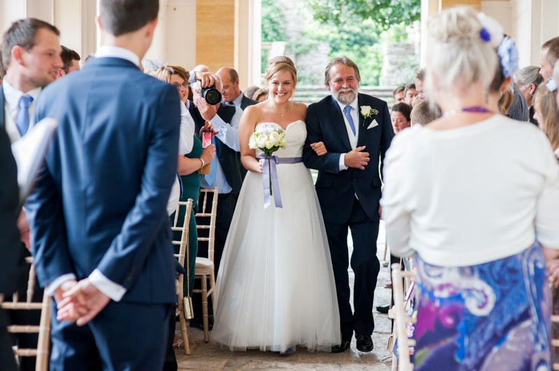 hestercombe gardens wedding photography somerset, bride walking down aisle with father
