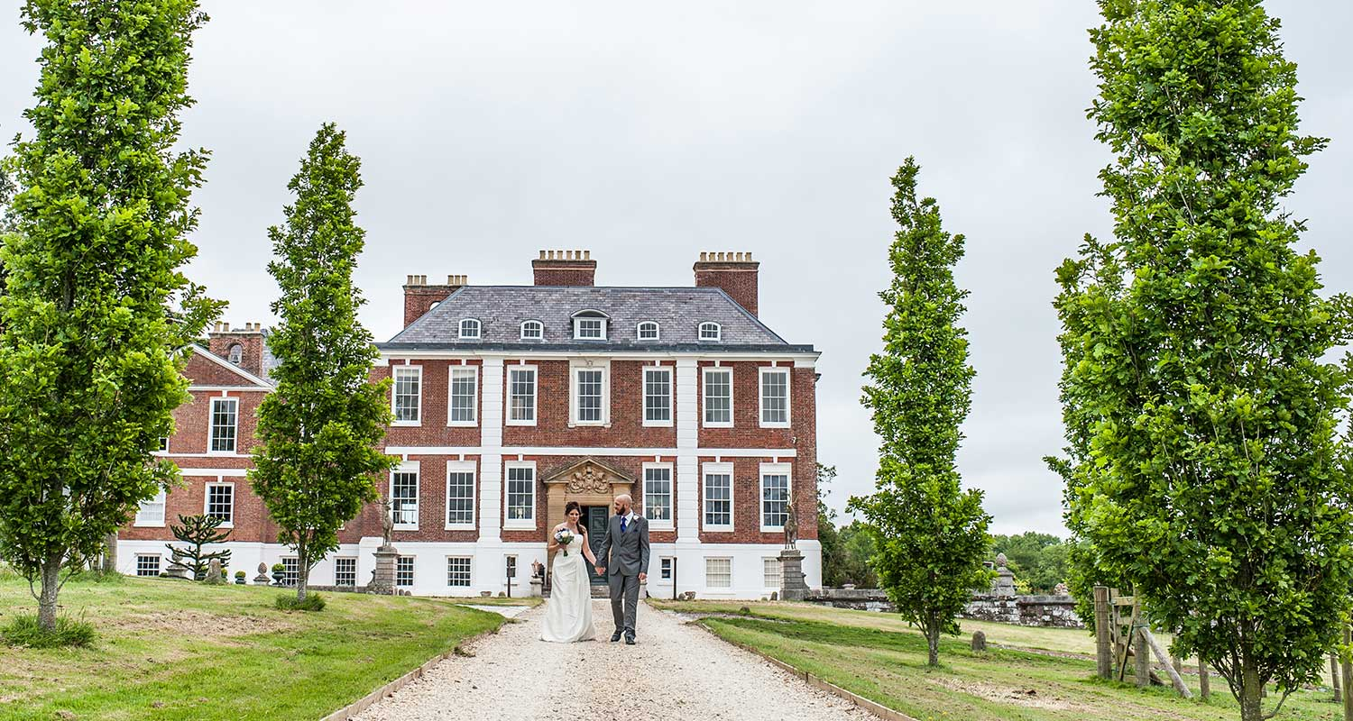 bride & groom at Pynes House in Exeter Devon