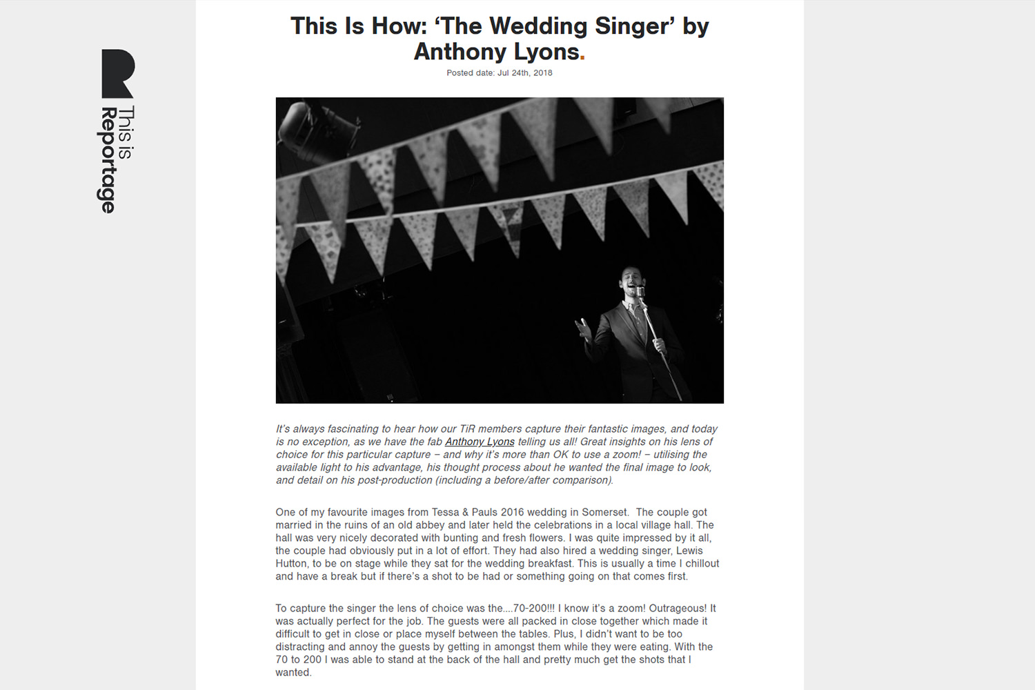 extract from article about devon wedding photographer Anthony Lyons talking about a black & white image of a wedding singer.