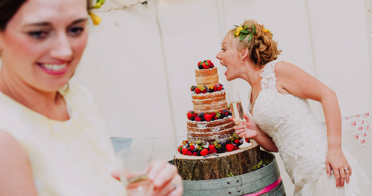 bride eating cake