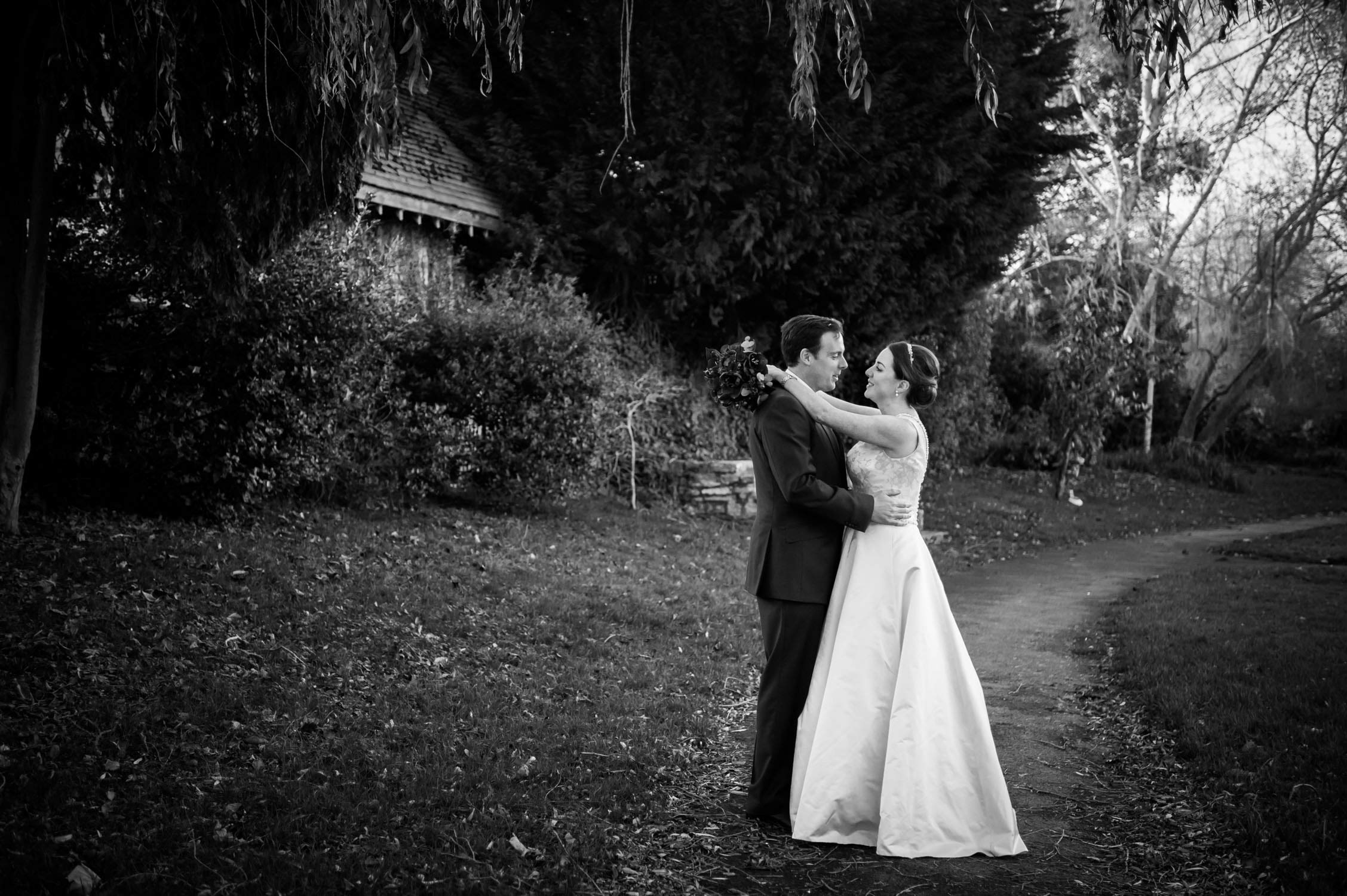 bride and groom on their wedding day. wedding photography in devon