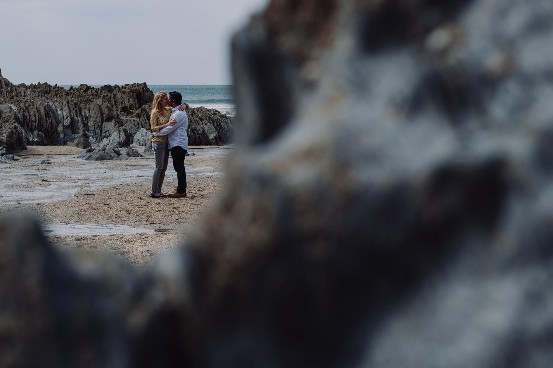 north devon wedding photographer capturing a pre-shoot on barricane beach in Woolacombe